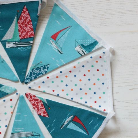 Under Full Sail Mini Cotton Bunting (Price inc P&P) with 14 Flags